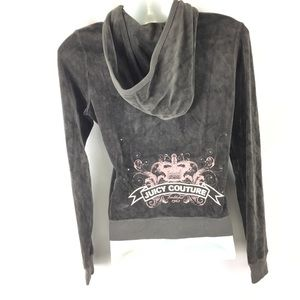 JUICY COUTURE | gray velour pink bling hoodie M